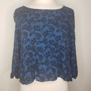 UO Pins & Needles Blue Black Floral 3/4 Sleeve Top